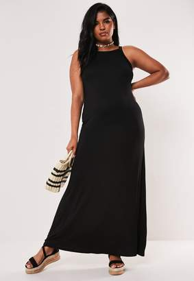 Missguided Plus Size Black Strappy Jersey Maxi Dress