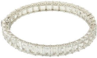 Artisan 18K Gold & Silver White Topaz Baguette Bangle