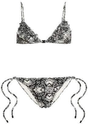 Zimmermann Ruffled Mesh-trimmed Printed Triangle Bikini