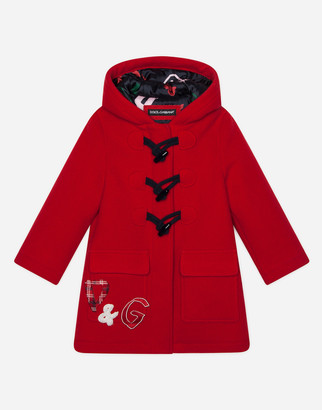 Dolce & Gabbana Wool Duffle Coat With Patch Embellishment