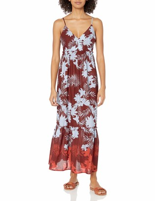 Seafolly Women's Printed Maxi Dress Swimsuit Cover Up with Ruffle Hem