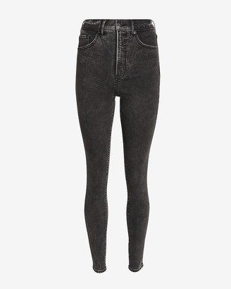 Express Super High Waisted Black Skinny Jeans