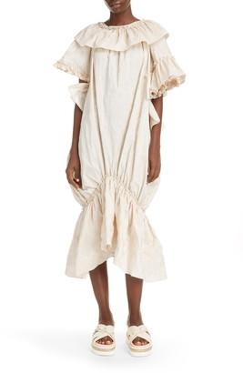 Simone Rocha Asymmetrical Embroidered Bubble Midi Dress