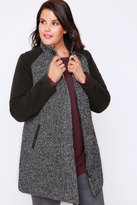 Yours Clothing Grey & Black Tweed Herringbone Coat with High Neck Collar