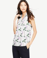 Ann Taylor Petite Floral Ruffle Keyhole Shell
