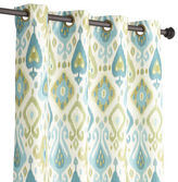 "Pier 1 Imports Ikat Blue & Green 96"" Curtain"