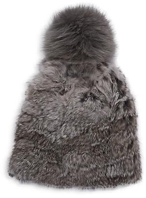 MARCUS ADLER Fox Fur Pom-Pom Rabbit Fur Hat