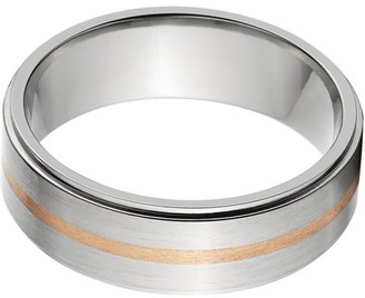 Online 7mm Raised Center Titanium Ring with a 1mm Copper Inlay with a Brushed Finish