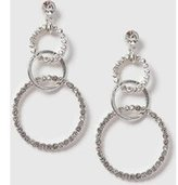 Dorothy Perkins Womens Rhinestone Circle Earrings- Clear
