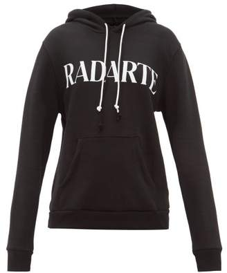 Rodarte Logo Print Cotton Blend Jersey Hooded Sweatshirt - Womens - Black White
