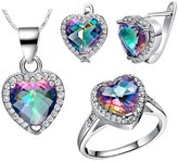 Babao Jewelry Jewelry Sets Babao Jewelry Colourful Love Heart 18K Platinum Plated Cubic Zirconia Crystals Pendant Necklace Earrings Set Ring Size 7