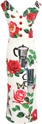 Dolce & Gabbana Button-embellished Printed Cotton-blend Dress