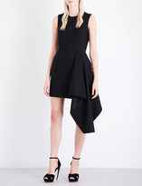 Alexander McQueen Draped-hem fit-and-flare wool-blend dress