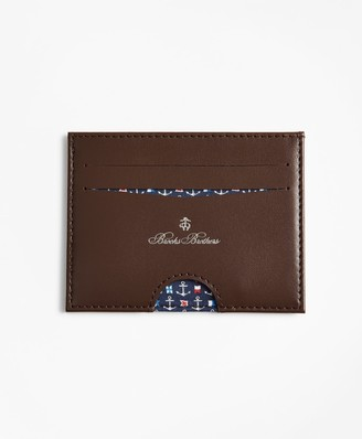 Brooks Brothers Embossed Leather Card Case