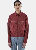 E.tautz Men's Zipped Pocket Shirt Jacket In Maroon