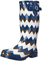 NOMAD Women's Puddles Rain Boot, Black/White Chevron, 7 M US