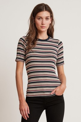 Velvet by Graham & Spencer Shelly Stripe Ribbed Crew Neck Short Sleeve Tee