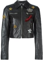 Dolce & Gabbana embellished cropped leather jacket