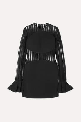 David Koma Striped Flocked Mesh And Cady Mini Dress - Black