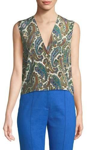 Diane von Furstenberg Paisley-Print Silk Sleeveless Top
