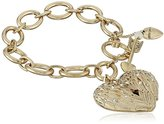 "Betsey Johnson Heaven Sent"" Wing Heart Toggle Charm Bracelet"