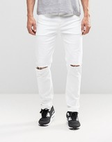 Asos Stretch Slim Jeans With Knee Rips In White