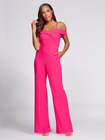 New York & Co. Gabrielle Union Collection - Off-The-Shoulder Jumpsuit - Hot Pink