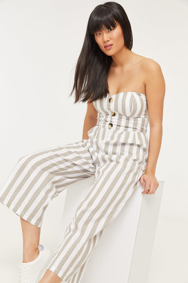 Ardene Strapless Wide Leg Striped Jumpsuit