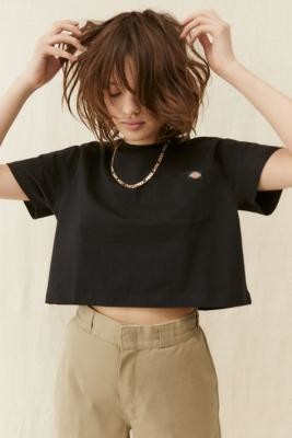 Dickies Porterdale Black Crop T-shirt - Black XS at Urban Outfitters