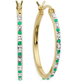 FINE JEWELRY Genuine Emerald & Diamond Accent 18K Yellow Gold Over Silver Hoop Earrings