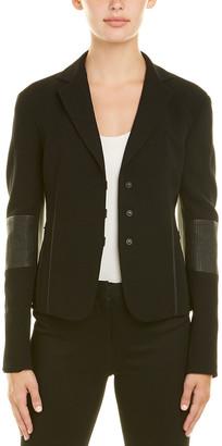 Akris Wool-Blend Leather-Trim Jacket