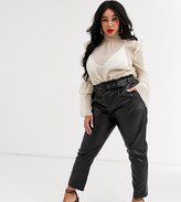 In The Style Plus In The Style x Stephsa Plus pu paperbag waist pants with belt in black