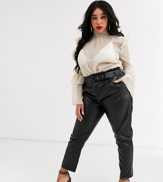 In The Style x Stephsa Plus pu paperbag waist pants with belt in black