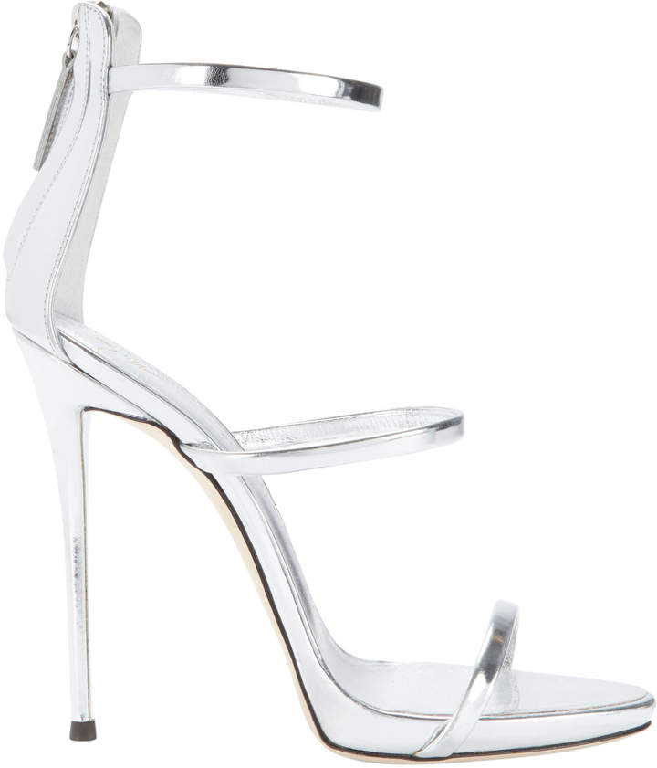 Giuseppe Zanotti Coline Silver Strappy Sandals