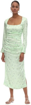 Ganni Stretch Silk Satin Midi Dress