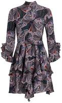 Etro Anita Butterfly Ruffle Silk Dress