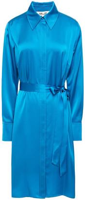 Diane von Furstenberg Zello Belted Satin Shirt Dress