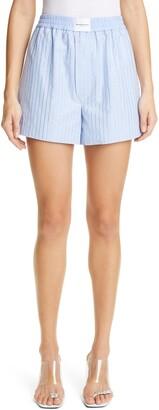 Alexander Wang Crystal Hot Fix Stripe Poplin Shorts