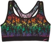 L.A. Gear Black & Rainbow Abstract Microfiber Wireless Sports Bra