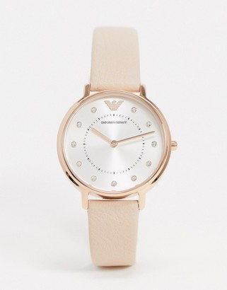 Emporio Armani AR2510 Kappa leather watch in pink