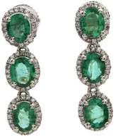 ai 950 Platinum 1.92ctw Emerald and 0.26ctw Diamond Dangle Earrings