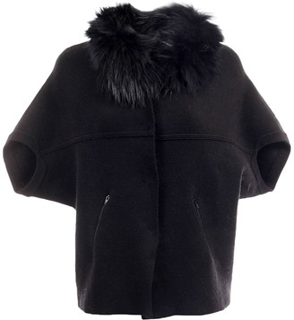 DOLCE CABO Faux Fur Trim Elbow Sleeve Cardigan