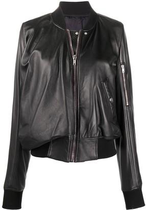Rick Owens Long-Sleeve Leather Bomber Jacket