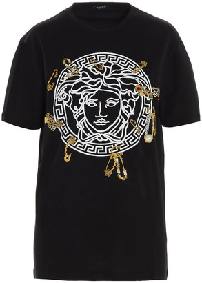 Versace Medusa Safety Pin Embroidered T-Shirt
