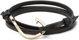 Miansai Grained-Leather and Gold-Plated Hook Wrap Bracelet