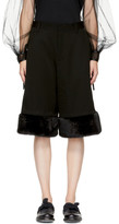 Noir Kei Ninomiya Black Faux-fur Cuff Trousers
