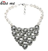 AYT_Necklaces AYT Best Selling Fashion Smooth Round Simulated Pearl Flowers Collar Necklace Bridesmaid Accessories