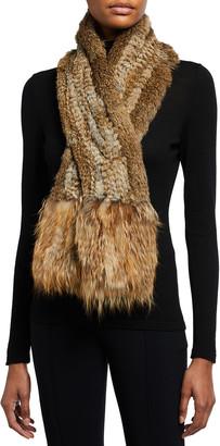 Adrienne Landau Rabbit Fur Scarf with Fox Fur Trim