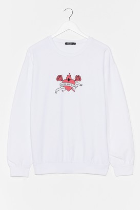 Nasty Gal Womens All You Need is Love Graphic Sweatshirt - White - S