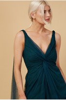 Thumbnail for your product : Little Mistress Bridesmaid Eden Dark Green Knot-Front Maxi Dress